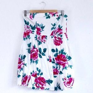 Urban Outfitters White Floral Strapless Dress